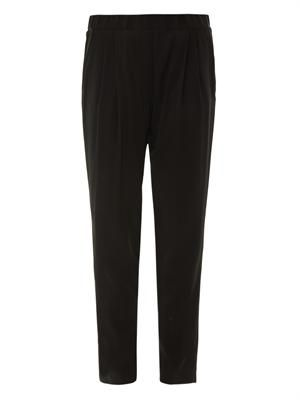 Tapered-leg crepe trousers