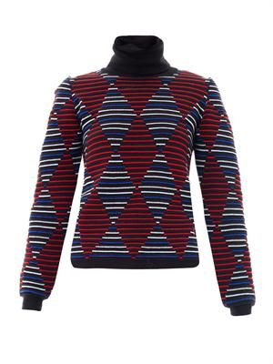 Diamond intarsia-knit stripe sweater