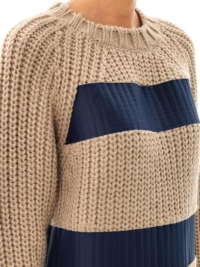 MSGM Printed stripe chunky-knit sweater
