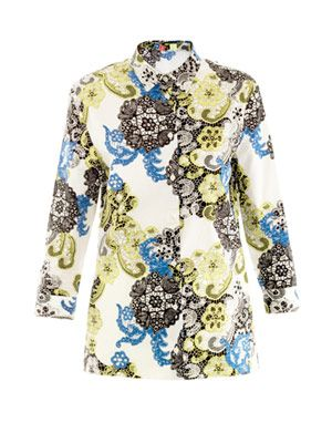 Lace-print cotton shirt