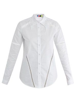 Shirt with fringed-collar