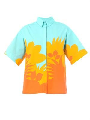 Tropical-print cotton shirt