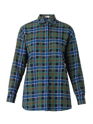 Lace-back checked cotton shirt