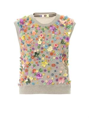 Floral-embellished sleeveless sweatshirt