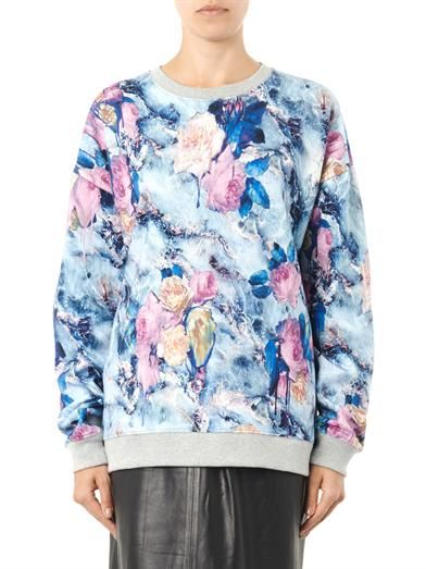 MSGM Floral-print cotton sweatshirt
