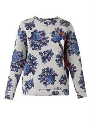 Floral-print neoprene sweatshirt
