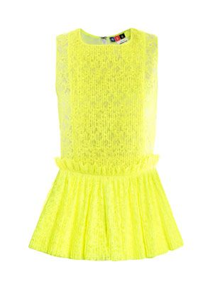 Neon pleated lace top