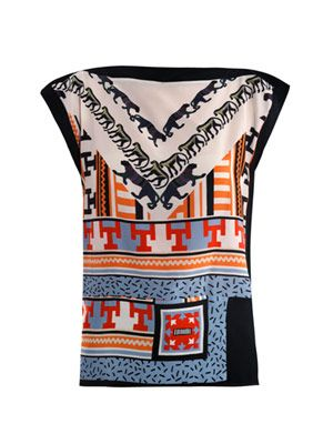 Geometric-print silk top
