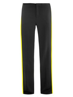 Side stripe crepe trousers