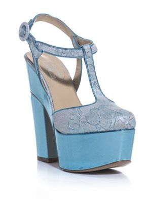 Metallic lace platform shoes
