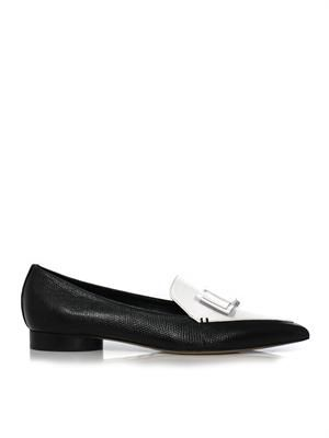 Bi-colour leather flats