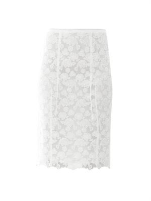Floral lace cotton skirt