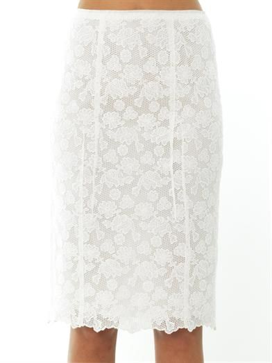 Nina Ricci Floral lace cotton skirt