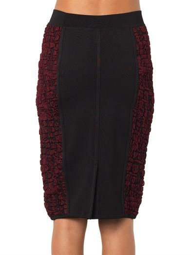 Nina Ricci Crocodile-effect jacquard pencil skirt