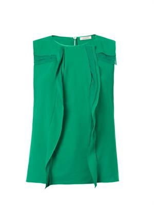Vertical ruffle silk blouse