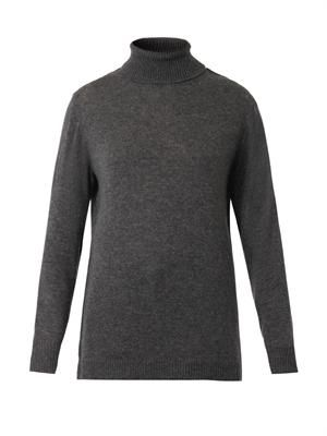 Lace-trimmed roll-neck sweater