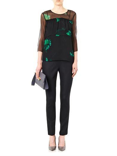 Nina Ricci Floral-print silk-chiffon blouse