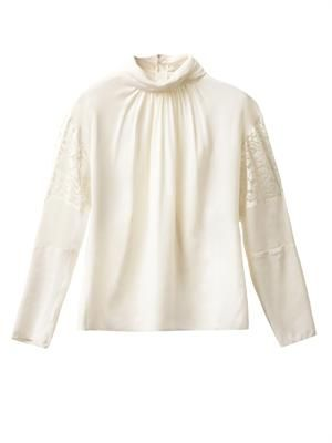 Lace-panel silk blouse