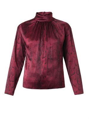 Snake-print silk blouse