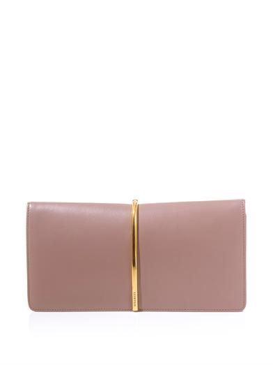 Nina Ricci Arc leather and suede clutch