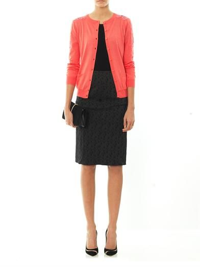 Nina Ricci Lace panel silk-cotton cardigan