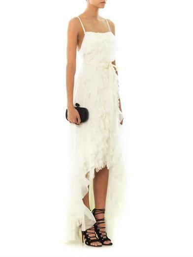Nina Ricci Tiered ruffle silk-lace gown