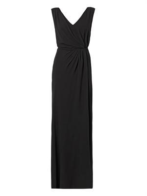 Draped-side silk-crepe gown