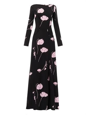 Poppy-print silk gown