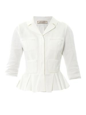 Peplum piqué-cotton jacket