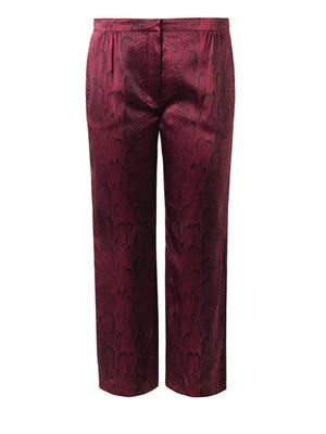 Snake-print silk cropped trousers
