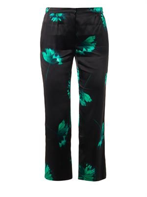 Floral-print silk tailored trousers