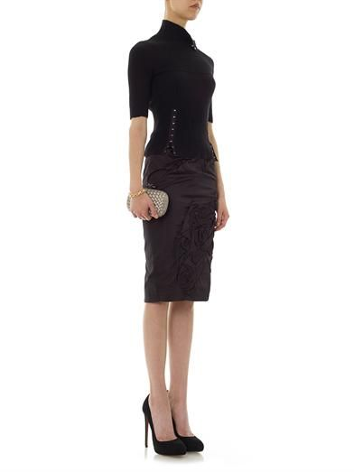 Nina Ricci Pleated rose pencil skirt