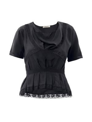 Lace insert silk blouse