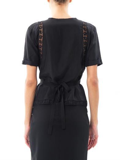 Nina Ricci Lace insert silk blouse