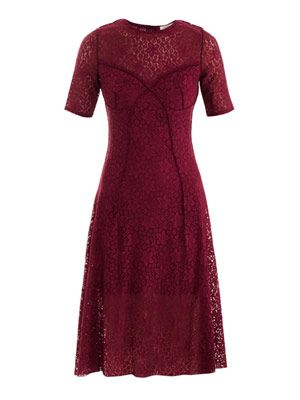 Lace knee-length dress