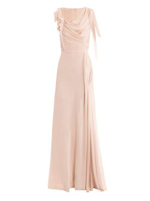 Lace-back chiffon gown