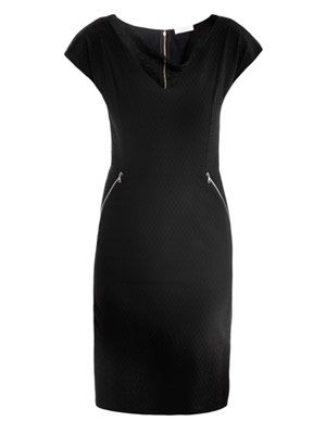 Jacquard sheer-neckline dress