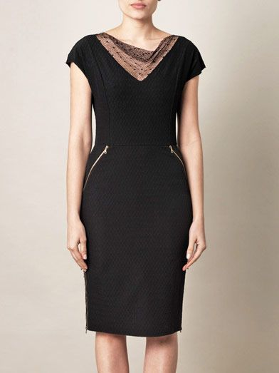 Nina Ricci Jacquard sheer-neckline dress