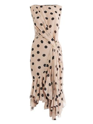 Silk polka dot-dress