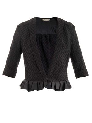 Frill hem tweed jacket
