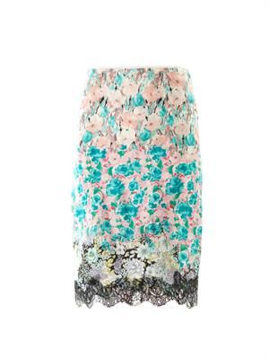 Floral and lace silk skirt