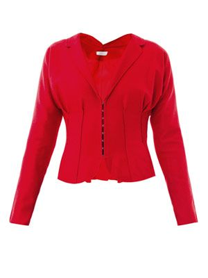 Single-breasted peplum wool jacket