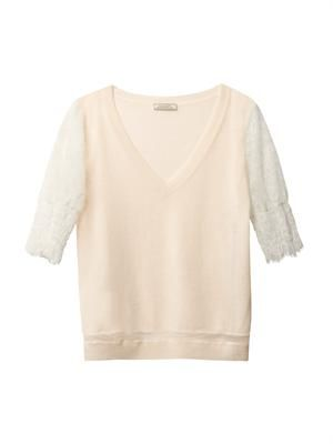 Cashmere and lace sweater