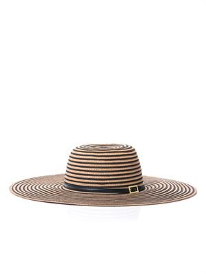 Laurianne stripe wide-brimmed sun hat