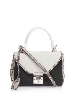 Scottie mini python and leather tote