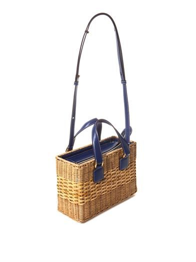 Mark Cross Manray rattan wicker box bag