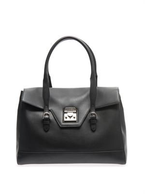 Hemmingway flap-lock leather tote