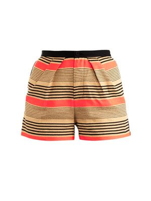 Cotton linen stripe shorts