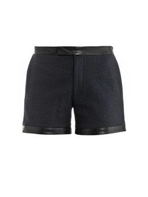 Perforated leather trimmed shorts