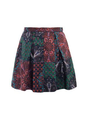 Paisley-print mini skirt